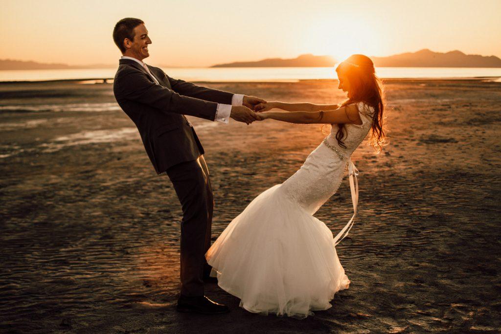 great salt lake wedding mermaid wedding gown fitted with detailed belt sunset elopement #weddingphotographer #greatsaltlake #elopementwedding #love #married #mermaidweddinggown